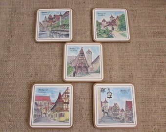 Pimpernell Coasters, Five Pimpernell Coasters, Made in England Pimpernell Coasters, Coasters, Vintage Coasters, Europe Coasters