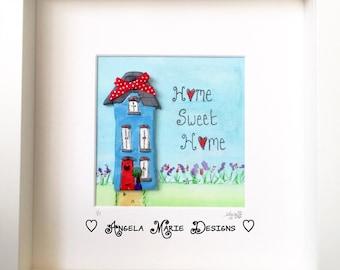 Home Sweet Home' original mixed media artwork.