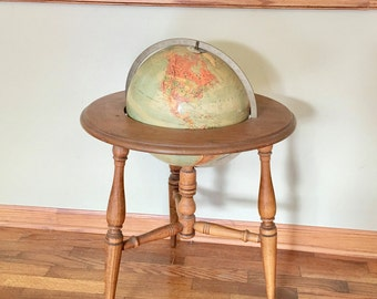 Mid Century Repogle World Globe in a Wooden Floor Stand