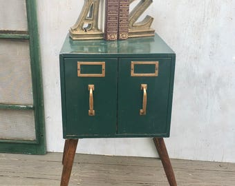 Vintage Industrial End Table, Night Stand, Industrial Style Table Made From a Green Two Drawer File Box