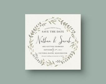 Save the Date - Watercolour Floral Wreath personalised wedding invitations