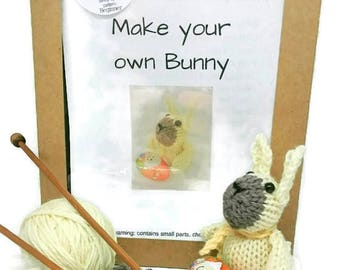 Knit your own bunny kit, knitting kit, craft kit, easter craft kit, easter bunny kit, gift for knitter, craft kit for holiday, gift for nan