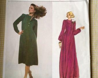 Uncut Vogue Designer Original Pattern Jean Muir 1724 Misses' Long or Short Dress Size 12