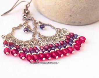 Boho Earrings | Gypsy Earrings | Bohemian  Earrings | Bohemian Luxe Pink Purple Earrings