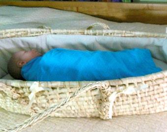 Baby muslin blanket, blue baby blanket, baby gauze swaddle, lightweight swaddle, baby gauze blanket, baby muslin swaddle, baby gauze wrap