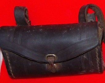 WW 1 U.S. Army leather bicycle tool case  and soldier photo with bike& bag