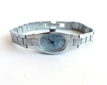 "Womens watchs with blue dial. Women's watch, Women's soviet watch, Vintage watch, Russian watch, ""Luch"", Mechanical watch. Luch watch"