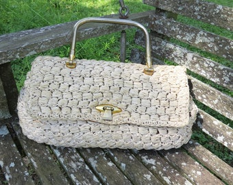Vintage Marcus Straw Purse/Handbag Marcus made in Italy - Suede Lining