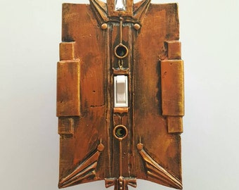 Art Deco Single Switch Plate, Hammered Copper Finish. Switch cover for standard toggle switch. Lighting remodel