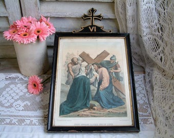 Antique french framed color lithograph of Stations of the Cross. Veronique wipes the face of Jesus. Napolean III. Christian home decor.