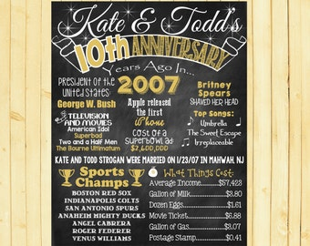 10th Anniversary 10th Wedding Anniversary Gold 10th 2007 Married 10 Years Ago 10th Anniversary Chalkboard Anniversary Gift