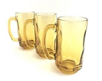 Vintage Glass Mugs Amber Pebbled Glass Beer Stein Handled Mug Set of 3 Heavy