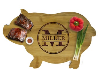 Cow Cutting Board, Pig Cutting Board, Animal Cutting Boards, Animal Shaped Cutting Board, Personalized Bamboo Cutting Board, Couples Gift