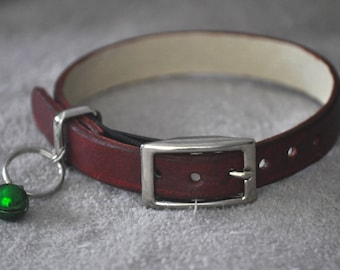 Monty Selection Reddish Brown Leather Cat Collar