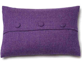 Harris Tweed Cushion Pillow Purple Buttoned