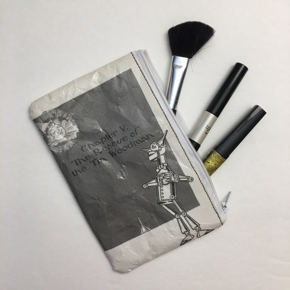 Wizard of Oz Book Themed Vinyl Pencil or Make-Up Pouch - Dorothy and the Tinman
