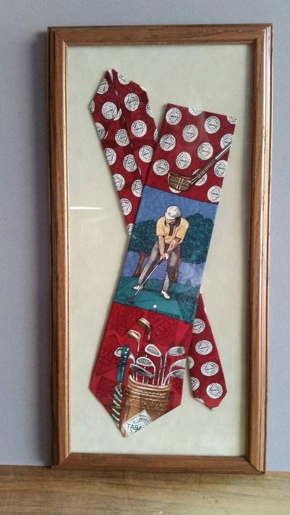 Framed Wall Art Tobasco Golf Necktie 8X18