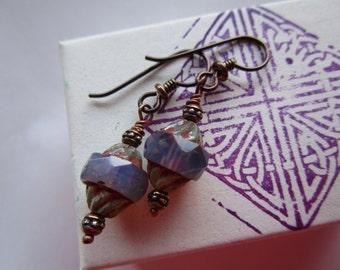 Beautiful Milky Light Purple Czech Glass Earrings Rustic but Feminine Pretty Turbine Glass Earrings Hypoallergenic Niobium Ear Wires