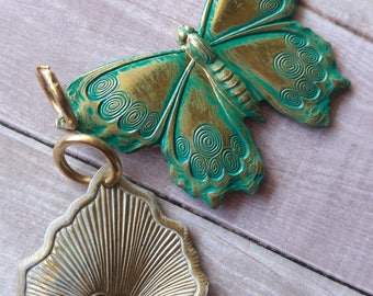 Natural Brass Fluttering Wings Green Patina Pendants Jewelry Making Supplies