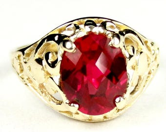 Created Ruby, 14KY Gold Ring, R004