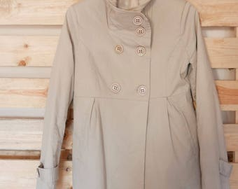 Vintage Parka jacket beige size small cotton&elastan OOAK Made in Italy