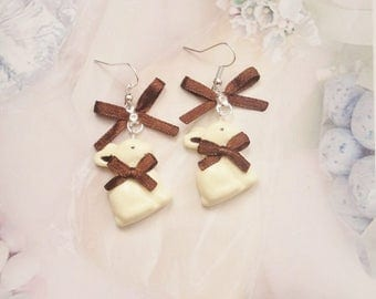 earrings rabbit white chocolate polymer clay