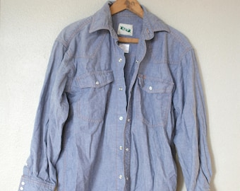 vintage 1970's key oversized blue chambray industrial denim shirt *