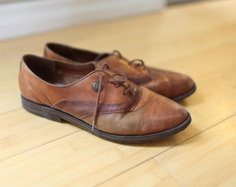 vintage brown leather lace up oxfords wingtips womens 8 1/2