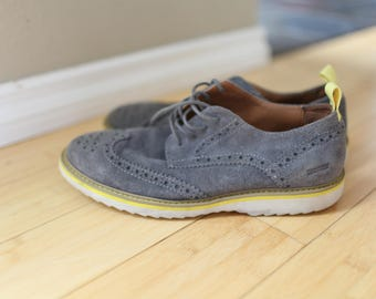 vintage gray suede leather wingtips oxfords loafers with yellow sole mens 8 1/2
