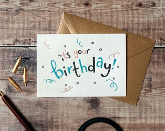 It's Your Birthday Curls Letterpress Birthday Card