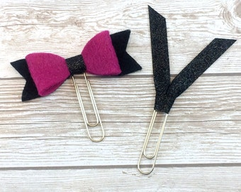 Large Black & Fuchsia Felt Bow with Black Glitter Ribbon and Matching Glitter Ribbon Clip // Bookmark // #06