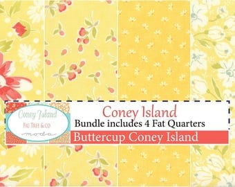 Coney Island Buttercup Fat Quarter Bundle by Fig Tree Quilts