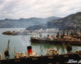 Kodachrome 35mm slide ~ 1961 British Merchant Ships ~ Lyttelton New Zealand