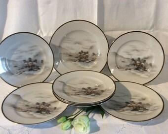 Unusual Oriental Cake Plates Set With Oriental Scenes very Pretty Vgc