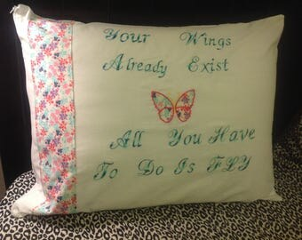 Beautiful Quoted Embroidered Pillowcase