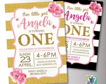 Glitter Birthday Invite. Pink and Gold Baby Birthday. 1st Birthday Party invitation.Printable Digital DIY Card
