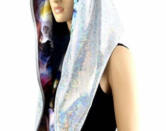 HUGE Extra Long Frostbite Shattered Glass and Swirling Smoke Cowl Hoodie Festival Rave Clubwear Hood Reversible Hood 154354