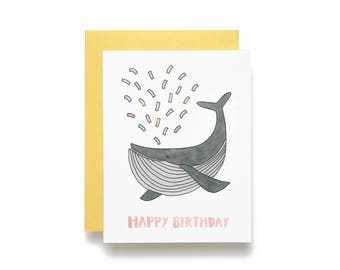 Happy Birthday. Whale Spouting Confetti Birthday Card