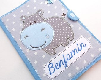 2 in 1 U booklet, document bag, investigation magazine 'Hippo' - light blue/grey