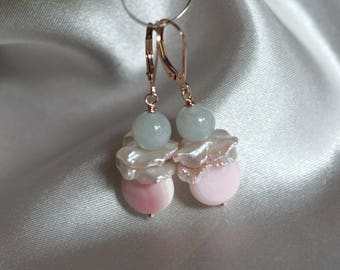 Pink Queen conch shell earrings, freshwater keishi pearl drop earrings, jade earrings, bridal earrings, rose gold fill lever back ear wires