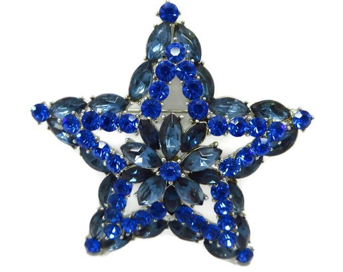 Vintage Weiss Brooch, Blue Rhinestone Brooch, Vintage Star Brooch, Signed Weiss Jewelry, FREE SHIPPING