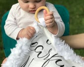Softest Lovey • Cuddly Llama Fleece Blanket • Security Blanket with Wooden Ring • Fearfully and Wonderfully Made Baby Blankey