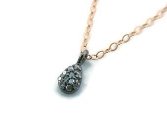 Diamond teardrop necklace Delicate choker necklace Tiny pendant with diamonds Gift for wife diamond jewelry Girlfriend diamond necklace gift