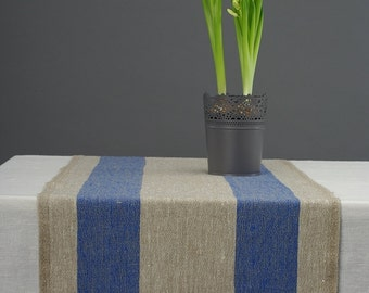 Linen Table Runner Natural Blue Large Striped