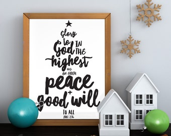 Black and white Christmas Verse Glory to God in the Highest Luke 2:14, 11x14 Digital File Instant Download by LostBumblebee
