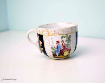 Antique Dresden Porcelain Hand Painted Courting Couple Floral Design Small Demitasse Petite Cup Classical Collectible Dresden Porcelain