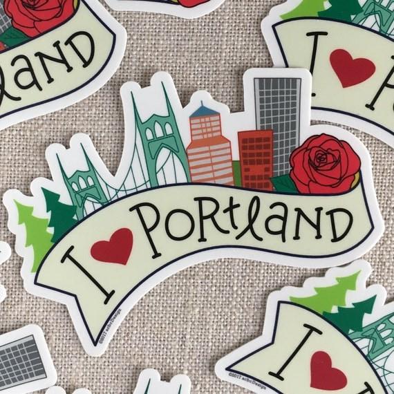 I Love Portland Vinyl Sticker Cool Hand Lettered Design - Custom vinyl decals portland oregon