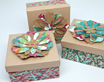 Gift Box- Gift Boxes with lids- Gift Boxes for jewelry- Kraft Paper Box- Square Box- Recycled- Non Tarnishing Cotton Fill- 1 box with lid