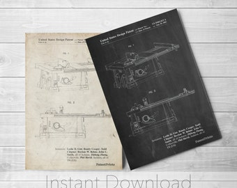Tool Printables, Table Saw Patent Poster, Woodworking Tools, Tool Art, Carpentry, Mens Gifts, PP0999
