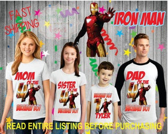 Iron man Birthday BOY Family theme Shirts for the entire family Girl Dad Mom Age Name Custom Theme Raglan T-shirt Ironman
